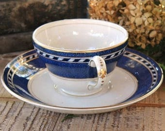 Booths Cream Soup Cup with Underplate, Rare Pattern Modern Blue Transferware, Bridesmaid Gift, #A8062, Fine English China Ca. 1920s