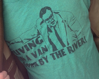 """Vintage Chris Farley """"Down By the River Living in a Van"""" Saturday Night Live green tshirt size 2x free domestic shipping"""