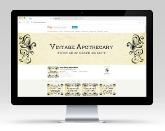 Vintage Apothecary Shop Graphic Set | Premade & Customizable for your Business | Shop Branding Design Antique Paper Scroll Motif