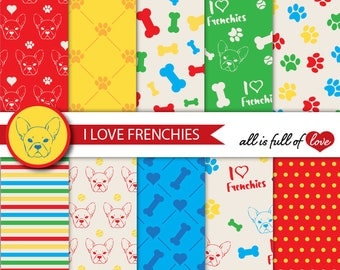 Frenchie Digital Paper French Bulldog Scrapbook Patterns Red Blue Yellow Green Background Graphics Animal Digital Paper Dog Paw Bones