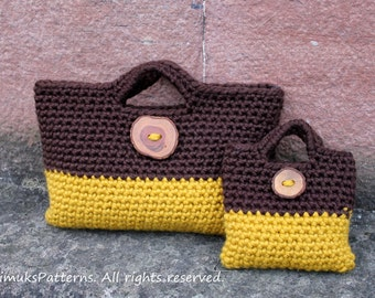 PATTERNS CROCHET - Mother and daughter matching crochet purses with buttons, bag pattern - Listing122