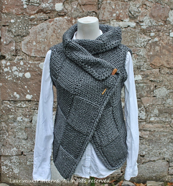 Knitting PATTERN-Big square wrap, womens sleeveless jacket ...