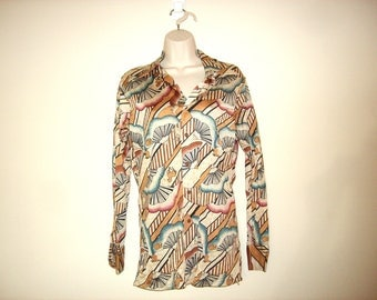 Vintage 1970s Trippy Animal Button Down Shirt