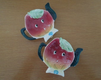 Anthropomorphic Strawberry Teabag Holders Set of Two Hand Painted
