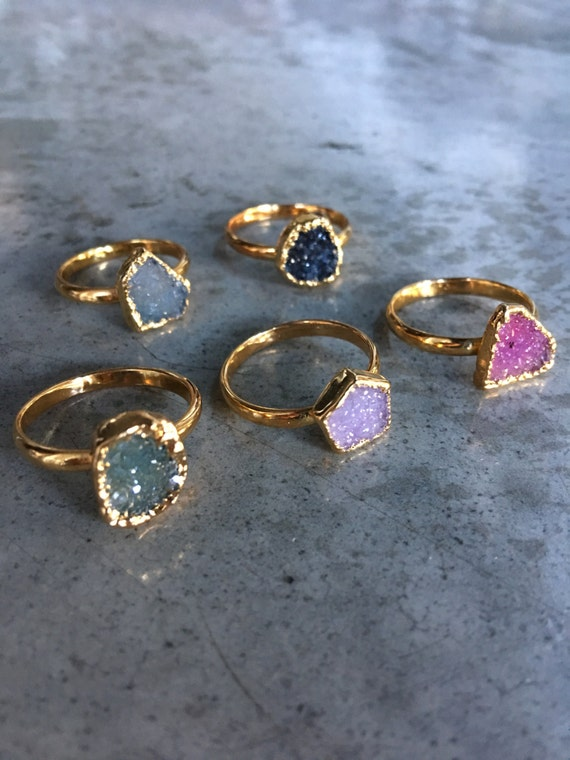 Druzy Rings, stackable Druzy Quartz Rings, Crystal Druzy jewelry