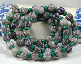 Purple Lantern bead Carved Jade Beads ----- 15mm ----- 14eads with Turquoise Cylinder beads 8mm 14beads