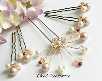 Champagne Ivory Pearl Bridal Hair Pins, Wedding Hair Accessories, Fall Wedding Hair Pin, Wedding Hair Pin, Pearl Hair Clip, Crystal Hair Pin
