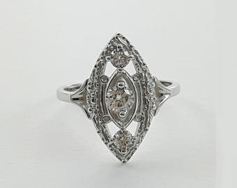 Art Deco Marquise Ring in 925 Sterling Silver