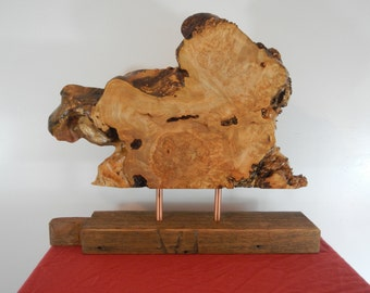 Mid Century Modern Wood Sculpture / Danish Modern / Maple Burl
