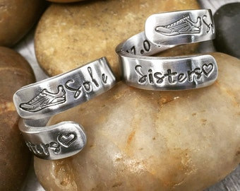 Best Friend Gift - Sole Sisters - Best Friend Rings - Running Friends - Running Buddies - Running Jewelry - Friendship Rings