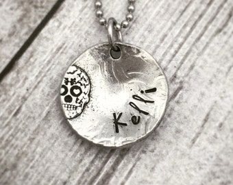 Sugar Skull Necklace - Personalized Necklace - Name Necklace - Hand Stamped Pewter Necklace