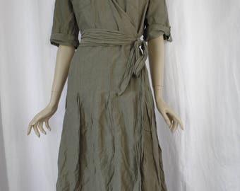 90s STEILMANN distressed crinkle effect military green kahki  belted wrap dress : US medium (8-10) EUR 42