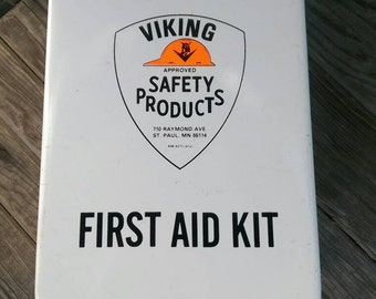 Vintage First Aid Kit Made by Viking Safety Products of St Paul, Minnesota