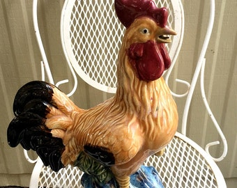 Vintage Ceramic Rooster, decorative rooster statue, large farmhouse chicken, country home decor