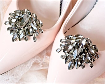 Black Rhinestone Shoe Clips,Black Bridal Shoe Clips,Black Wedding Shoe Clips,Black Crystal  Shoe Clips,Black Shoe Jewels,Black Shoe Clips