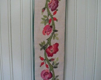 Vintage Bell Pull, Hand Embroidered, Crewel Embroidered, Multi-Color Flowers, Wall Hanging