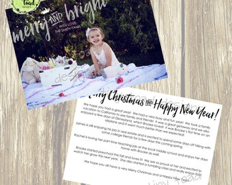 Merry and Bright, Holiday Cards, Christmas Cards, DIY Printable, digital file (item 1501)