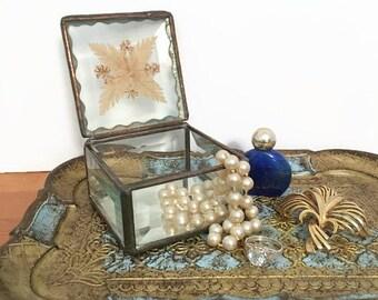 Glass Trinket Box, Leaded Glass and Dried Flowers, Hand crafted Jewelry Box,  Boho Woodland, Fairy tale