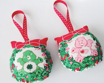 Care Bear Stuffed Ornaments- Pink or Green Bear- made from vintage fabric