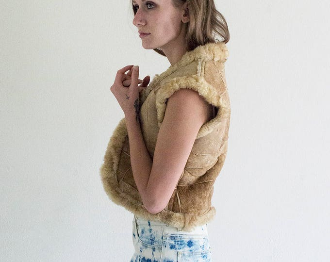 SALE 50% OFF Patchwork Sherpa Fur Vest