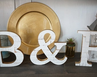 "Wooden letters, 7,4"" Wooden initials, Distressed,  Wall decor, Shelf decoration"