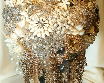 DEPOSIT ON CUSTOM Cascading Brooch Bridal Bouquet Champagne Cream Ivory Black Gold White Pearl Crystal Clear Wedding Broach Bouqet