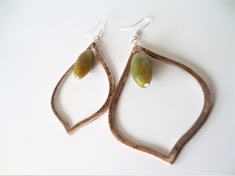 Metal Teardrop, Green and Metal, Teardrop Earrings, Bohemian Style, Earthy Style, Boho, Farmers Market,