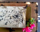 3 Vintage Japanese Paper Books, Hand-written Calligraphy, Rice Paper - Cloth Covered Folder with Decorative Lining and Toggle Closure