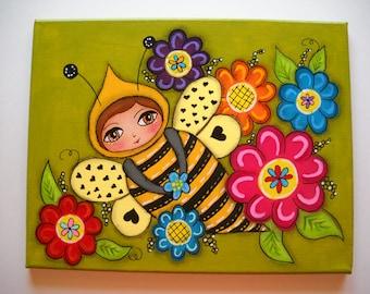 garden art, bee,painted canvas, acrylic painting, mixed media art, folk art, girls art, nursery art, bedroom decor, OOAK, little girls art