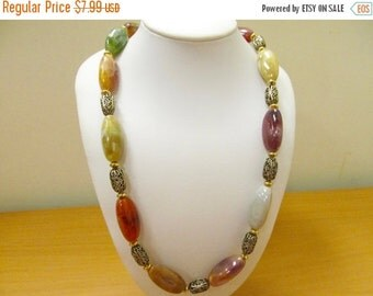 On Sale Retro Warm Earth Tone Colored Plastic  Beaded Necklace Item K # 2372