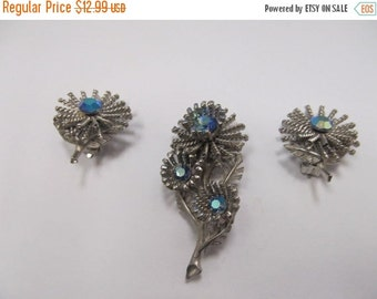 On Sale STAR 3D Floral Rhinestone Pin and Earring Set Item K # 1934