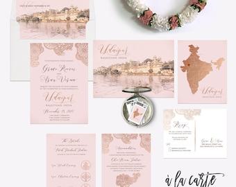 Destination wedding invitation Udaipur Rajasthan India Asia Indian Wedding Rose Gold Copper illustrated wedding invitation Deposit Payment