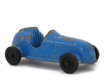Antique Race Car #3 by Tootsie Toy Blue Die Cast Metal with Chippy Paint 1940's Toy Car
