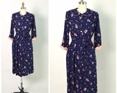 Vintage 1940s 40s Women's Robe 1950s 50s Bathrobe Rayon Print Peignoir