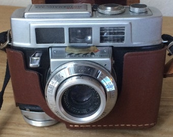 Vintage Kodak Camera Motormatic 35F with Original Leather Cover, Extra Lens with a Small Leather Lens Case