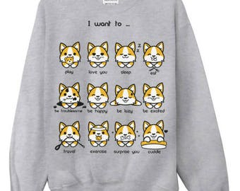 English Welsh Corgi Emoticon Crewneck Sweatshirt