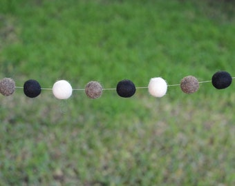 "Felt Wool Ball Garland - 'Dark Ombre' in 9 feet (black, gray and white) 1"" balls HANGERS INCLUDED! Monochrome Nursery Garland Nuetral Decor"