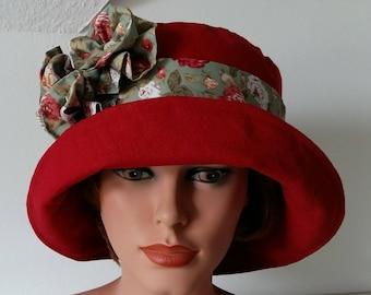 Summer Hat - Garden Hat- Beach Hat - Linen Hat, red, Size  60cm , 23.3/4 inch