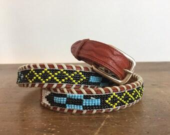 Vintage skinny beaded belt, Southwestern, tribal, festival