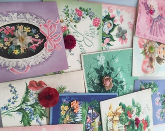 Vintage GREETING Cards Boxed Greeting Cards FLORAL Festival All Occasion Cards 3 D Flowers Great Graphics Set of 11 w/ Envelopes &Box
