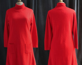 Vintage 1970's Red dress,jersey, turtleneck