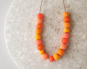 Beaded Necklace in Shades of Orange - Handmade Polymer Clay Beads - Limited Edition - Adjustable