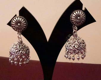 Oxidised Indian  Silver Plated handmade Jhumki Earrings, Indian earring, Indian jewelry , Jhumkas