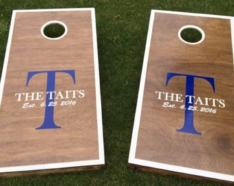 "Two 12"" x 12"" Custom Monogram Family Name Cornhole, Corntoss Vinyl Decals"
