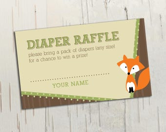 Woodland Animals Diaper Raffle Ticket