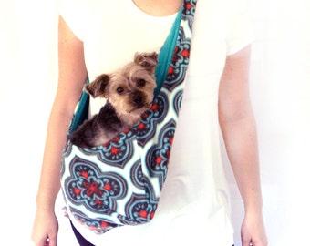 Teal, Red, Gray Medallion Fleece Pet Sling/ Pet Pouch/ Carrier: Marrakesh Medallion