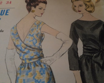 Vintage 1960's Vogue 5845 Special Design Dress Sewing Pattern, Size 12 Bust 32