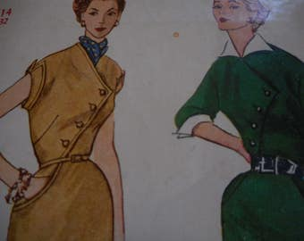 Vintage 1950's Simplicity 4378 Dress Sewing Pattern, Size 14 Bust32