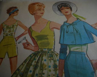 Vintage 1960's McCalls 6338 Jacket, Skirt, Pants or Shorts Sewing Pattern, Size 12 Bust 32