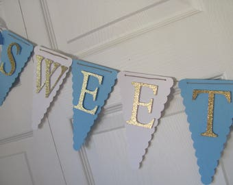 Boy Baby Shower Banner, Baby Shower Decorations, Boy Baby shower decorations, Blue, White and Glitter Gold Banner